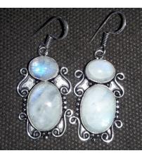Серебряные серьги с лунным камнем (адуляром)