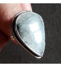Винтажное серебряное кольцо с черным рутиловым кварцем 19.5р