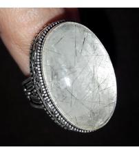 Винтажное серебряное кольцо с черным рутиловым кварцем 19р