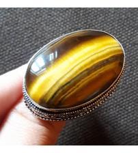 Винтажный серебряный перстень с тигровым глазом 19р