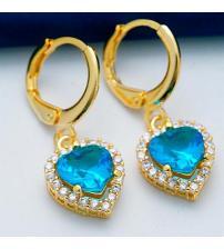 """Позолоченные серьги с голубыми камнями """"Сердце Океана"""""""