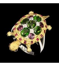 """Серебряное кольцо с камнями """"Черепашка"""" 18.5р -символ Богатства"""