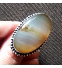 Серебряное кольцо с натуральным агатом 17.5р