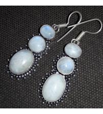 Серебряные серьги-подвески с лунным камнем