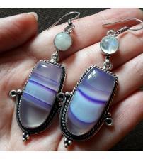 Серебряные серьги с агатом и лунным камнем