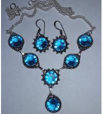 Серебряный комплект с голубым кварцем топаз