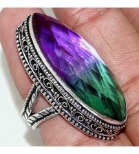 """Серебряное кольцо с двухцветным кварцем """"Аметрин"""" в Винтажном стиле 19р"""