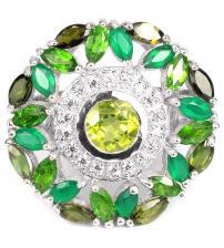 """Серебряное кольцо с зелеными драгоценными камнями """"Аризона"""" 18р"""