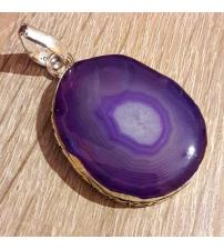 Серебряный кулон с фиолетовой друзой агата
