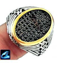 Мужской серебряный перстень печатка с сапфирами 22р