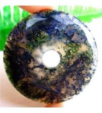 61Ct Натуральный моховый агат кулон-донат 50*50мм