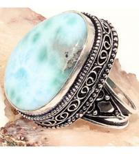 Серебряное кольцо с Доминиканским Ларимаром 19р
