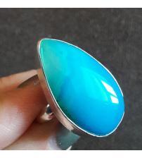 Серебряное кольцо с натуральным голубым агатом 19р