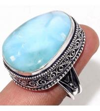 Винтажное Серебряное кольцо с Доминиканским Ларимаром 18р