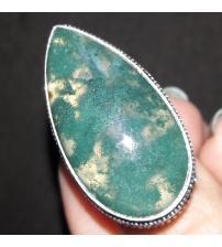 Винтажный серебряный перстень с моховым агатом 16.5р