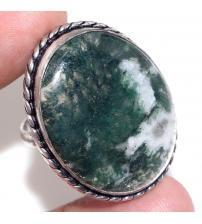 Серебряное кольцо с натуральным моховым агатом 18.5р