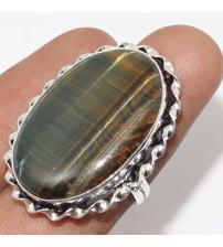 Серебряное кольцо с тигровым глазом 16.5р