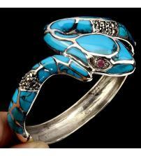 """Эксклюзив! Серебряный браслет с натуральной бирюзой, рубинами и марказитами """"Змея"""""""