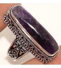 Серебряное кольцо с натуральным аметистом в винтажном стиле 18р
