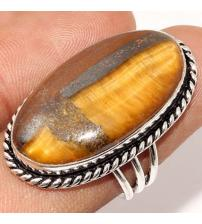 Серебряное кольцо с тигровым глазом 17р