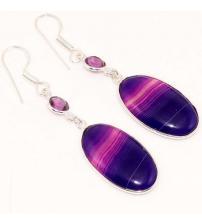 Серебряные серьги с фиолетовый агатом