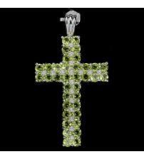 Крупный Серебряный кулон крестик с хризолитом