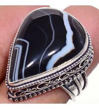 Серебряное кольцо с натуральным черным агатом 18р