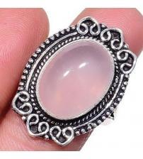 Серебряное кольцо с натуральным розовым кварцем 18.5р