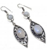 Серебряные серьги-подвески с лунным камнем (адуляром)