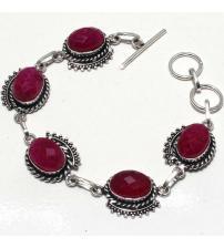 Серебряный браслет с индийским рубином (корундом)