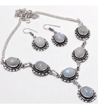 Серебряный комплект ( ожерелье и серьги) с лунным камнем