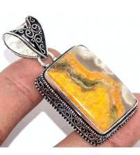 Серебряный кулон с Яшмой Бамблби (шмелиная яшма)