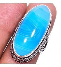 Серебряный перстень с голубым агатом 18р
