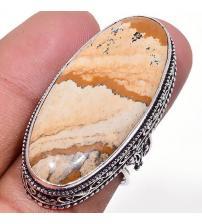 Серебряный перстень с пейзажной яшмой 18р