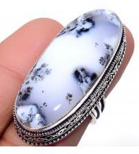 Крупный серебряный перстень с мерлинитом (дендрическим опалом) 17.5р