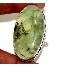 Огромное Cеребряное кольцо с натуральным пренитом 18.5р