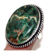 Серебряное кольцо с натуральной хризоколлой 16р