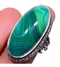 Серебряный перстень с зеленым Ботсванским агатом 17.5р