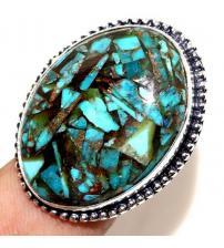 Серебряное кольцо с бирюзой в бронзите 16р