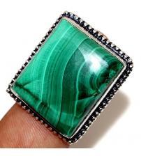Серебряное кольцо с натуральным малахитом 16р