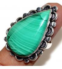 Серебряное кольцо с натуральным малахитом 19р