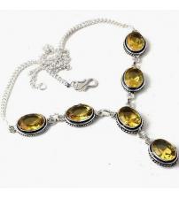 Серебряное ожерелье с кварцем цитрин