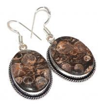 Серебряные серьги-подвески с Турителла агатом