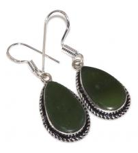 Срібні сережки з каменем змійовик