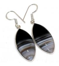 Серебряные серьги-подвески с черным агатом