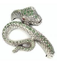 """Браслет из серебра с натуральными изумрудами """"Змея"""""""