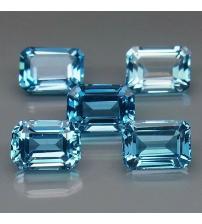 1.37Ct Натуральный London blue топаз 7*5мм октагон (цена за 1шт)