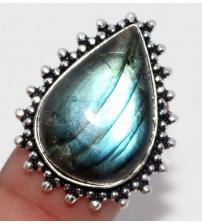 Серебряное кольцо с натуральным лабрадоритом 20р