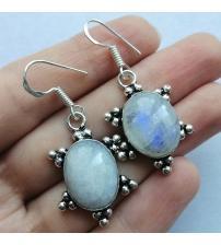 Серебряные серьги подвески с лунным камнем
