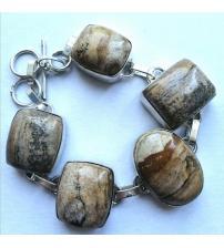 Серебряный браслет с натуральной яшмой